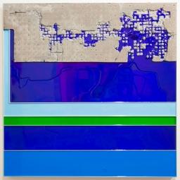 Troy Simmons Cement, Acrylic, Aluminum 36 x 36 x 3